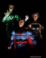 DC COMICS SUPER-VILLAINS ULTRAMAN, POWER RING AND SUPERWOMAN CRIME SYNDICATE ACTION FIGURES