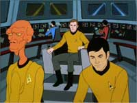 Lt. Arex and Mr. Sulu, with Capt. Kirk in the big chair