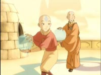 Aang and Monk Gyatso in Air Nomad orange and saffron yellow