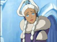 Princess Yue, with Water Tribe blue eyes and white hair