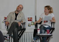(l to r) Coach David Lyerly of Marla Kirban Voice-Over and Hynden at the 'Animation in the City' Seminar
