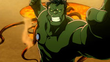 Hulk fly through the air with the greatest of ease...