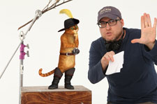 Puss in Boots taking direction from Mike Mitchell