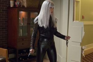 Nikki Minaj, uh, we mean, China White, prepares to distract Arrow with her platinum wig and curvy knives.