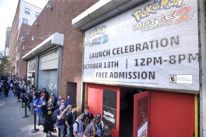 In this photo provided by Nintendo of America, fans eagerly wait outside SIR Stage37 in New York City on Oct. 13, 2012 to gain entrance to the Pokémon Black Version 2 and Pokémon White Version 2 Launch Celebration event. The games are available now for the Nintendo DS family of portable video game systems, and are also playable in 2D only on Nintendo 3DS and Nintendo 3DS XL systems. (Anders Krusberg for Nintendo of America)