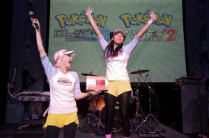In this photo provided by Nintendo of America, Pokémon fans show off their moves in a Pokémon dance competition at an event celebrating the launch of Pokémon Black Version 2 and Pokémon White Version 2, available now for the Nintendo DS family of portable video game systems. The games are also playable in 2D only on Nintendo 3DS and Nintendo 3DS XL systems. (Anders Krusberg for Nintendo of America)