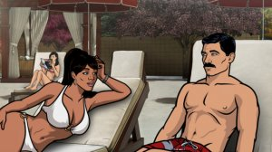Archer/Bob discusses the Shazam!/ISIS Hour with a rapt Lana.