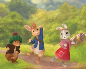 Peter Rabbit Pictured: Benjamin Bunny, Peter Rabbit and Lily Bobtail in Peter Rabbit on Nickelodeon.  Photo Credit: Nickelodeon. ©2013 Viacom International, Inc. All Rights Reserved.