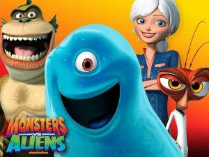 """Monsters vs. Aliens Pictured: (L-R)Link, B.O.B, Susan and Dr. Cockroach in Monsters vs. Aliens on Nickelodeon.  Photo Credit: ©2013 Viacom International Inc. All Rights Reserved. Nickelodeon and all related logos are trademarks of Viacom International Inc. Based on the feature film """"Monsters vs. Aliens"""", ©2009 DreamWorks Animation LLC. All Rights Reserved. Monsters vs. Aliens and all related titles, logos and characters are trademarks of DreamWorks Animation LLC."""