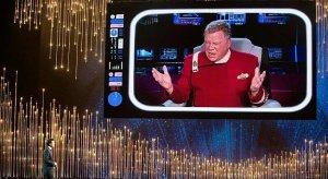 Captain Kirk gives advice from the 23rd century to 2013 Oscar host, Seth MacFarlane - but fails to mention the weird Uhura-Sulu-any guy in a red uniform orgies that used to happen in the Engine Room.