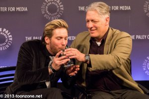 Don't quite remember what the gag was here, but it involved Troy Baker hyperventilating and needing a drink and some help from Clancy Brown.