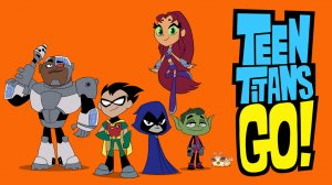 TEEN TITANS GO!: (L-R) Cyborg, Robin, Raven, Starfire and Beast Boy reunite — and they bring along their pet Silkie — in Teen Titans Go!, premiering in April on Cartoon Network. (Photo Credit: © 2013 Warner Bros. Entertainment Inc. All Rights Reserved.)
