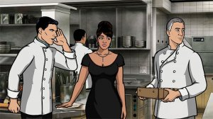 "Archer [Randy Randerson] and Lana [Mitzi - Hostess/Failed Actress] discuss the abomination that is eggplant with Lance Casteau [Anthony Bourdain] as they pose as restaurant employees for the fake celebrity chef reality show ""Bastard Chef""."