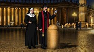 Archer, looking suspiciously like Father Guido Sarducci, and Pam, looking suspiciously like a non-flying nun, invade the Vatican.