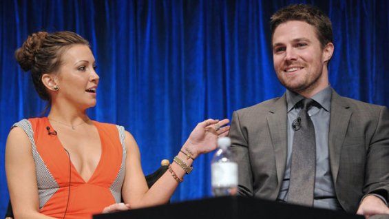 Laurel [Katie Cassidy] tells Stephen Amell [Arrow/Oliver] just exactly how much cowbell the series will need next season.