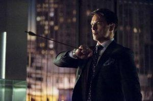 Despite Mythbusters proving otherwise, Malcolm Merlyn [John Barrowman] catches an arrow in mid-air while fending off Arrow in their second round showdown.