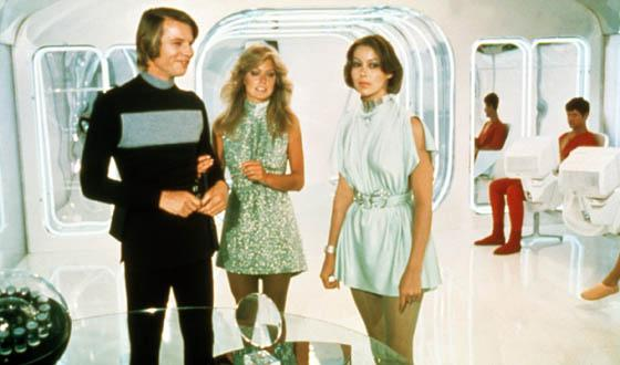 """Michael York, Farrah Fawcett and Jenny Agutter contemplate their fate after they reach age 30 in """"Logan's Run""""."""