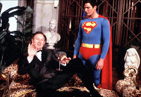 Gene Hackman - as Lex Luthor - explains some things to Superman in 1978.