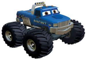 "The Bigfoot monster truck from the last on-screen animated appearance of monster trucks in ""Meteor and the Mighty Monster Trucks"" on Discovery Channel in 2006."