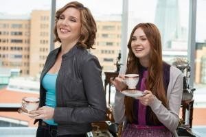 Piper and Daisy enjoy a spot of tea at the STSF:UK:DDB headquarters.