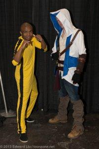 New York Comic Con NYCC 2013 Cosplay Bruce Lee Game of Death and Connor from Assassins Creed