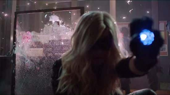 Black Canary deploys her sonic scream device to help Arrow escape his seemingly inescapable predicament from the previous episode.