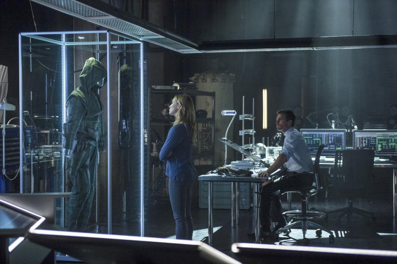 Sara Lance - aka Black Canary - checks out the fancy-schmancy Arrow Lair.