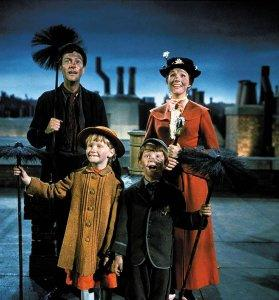 Mary Poppins Blu-ray 50th Anniversary Bert, Jane Banks, Michael Banks, and Mary Poppins
