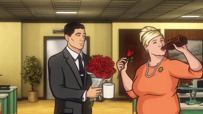 It all looks normal enough when Archer strolls in with a bouquet of roses...