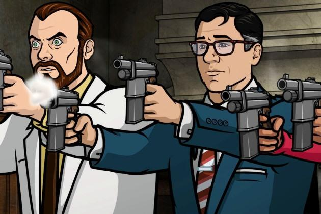 "ARCHER: Episode 4, Season 5 ""Archer Vice: House Call"" (airing Monday, February 3, 10:00 pm e/p). Archer has to stage an intervention for Pam that gets derailed by an unwanted guest. Written by Adam Reed. Pictured: (L-R) Krieger (voice of Lucky Yates), Cyril Figgis (voice of Chris Parnell), Lana Kane (voice of Aisha Tyler). FX Network"