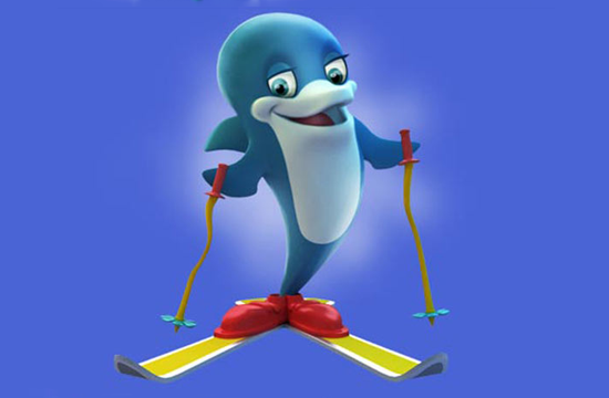 A skiing dolphin because what?...dolphins don't ski?
