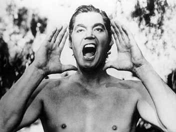 Johnny Weissmuller as Tarzan.