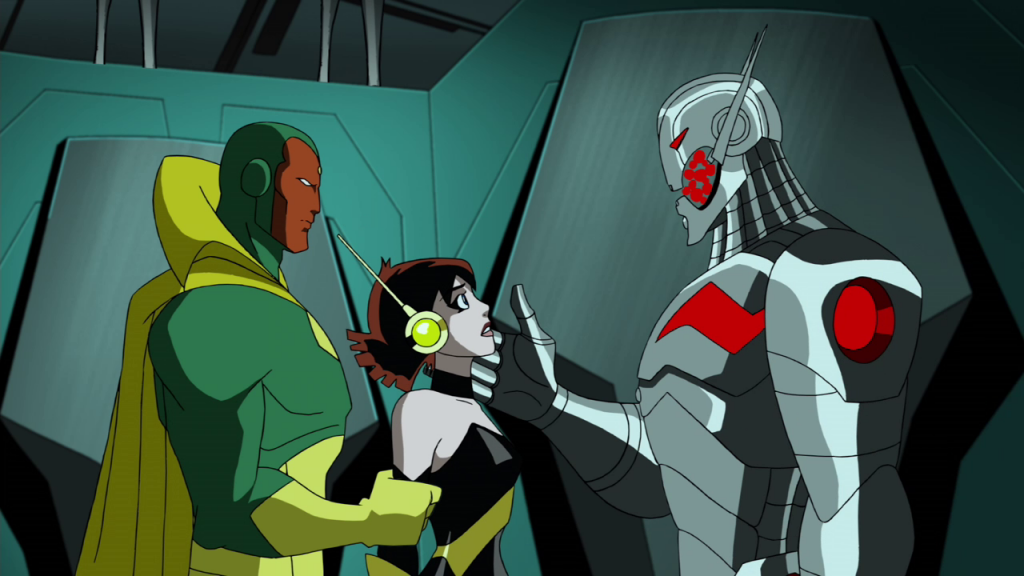 Ultron has a word with the Wasp while the Vision holds her.