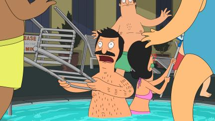 Bob and Linda fend off the burger conventioneers from the jacuzzi.