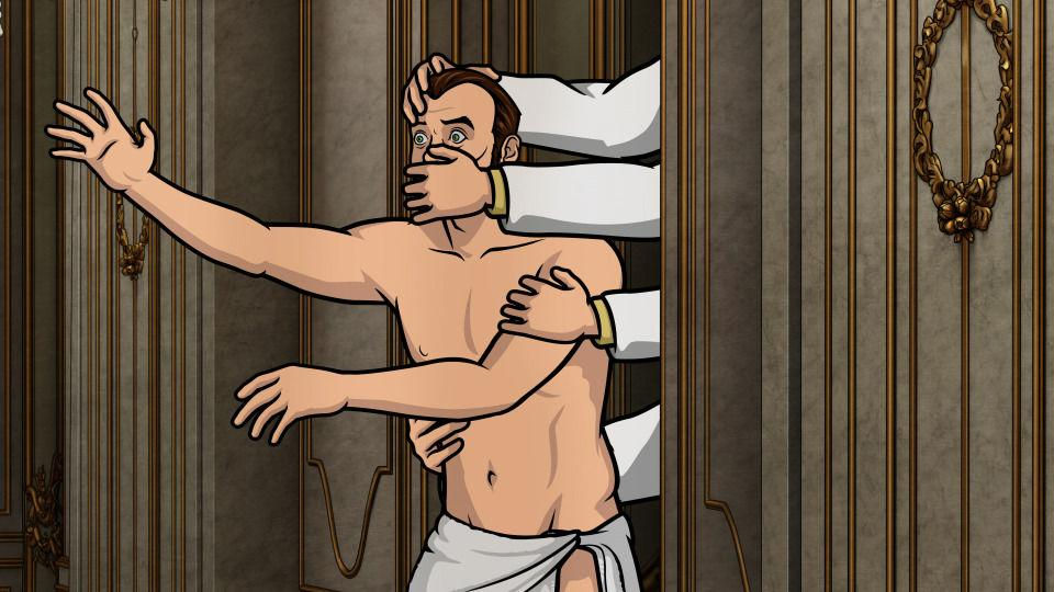 Krieger is abducted by Krieger clones in the palace of Senor Presidente Calderon.