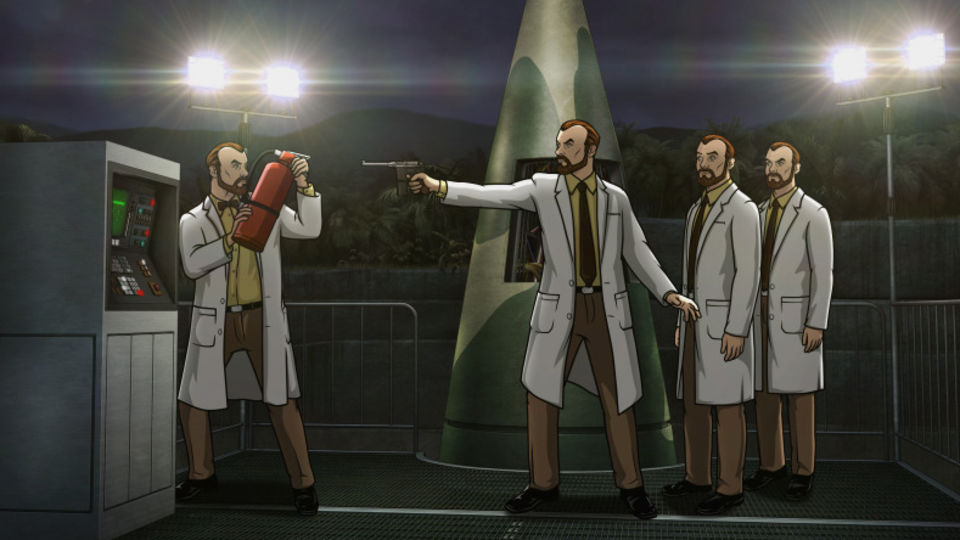 The real Krieger - with the fire extinguisher - kills off his three Krieger clones before they can launch the nerve gas-filled missile.