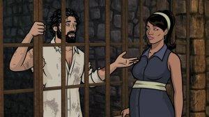 Archer is imprisoned by de facto dictator Cyril and tries to explain his beard and predicament to Lana.