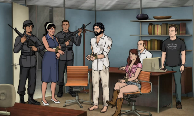 Archer, Lana and Cherlene are interrogated by the CIA at the San Marcos Airport.