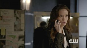 Summer Glau as Isabel Rochev reveals that she is on Slade's baddie side in this episode.