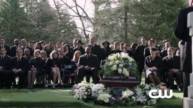 Everybody who is anybody attends Moira's funeral - except Oliver.
