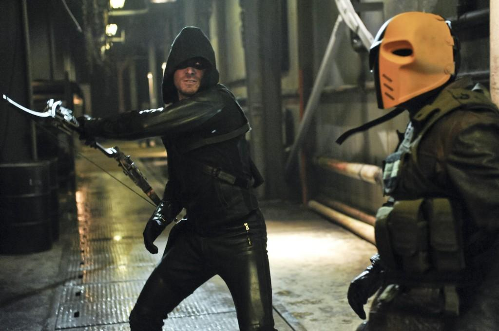 Arrow briefly tussles with Slade Wilson.