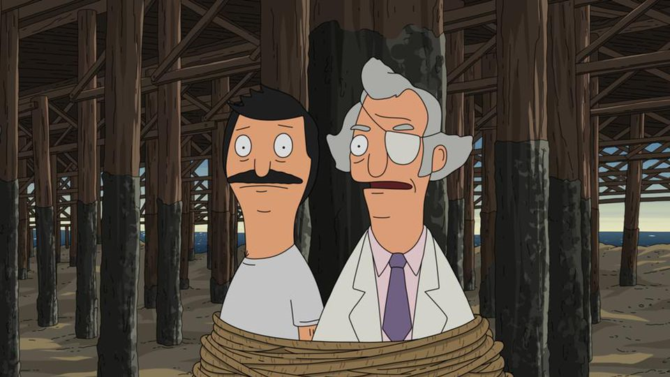Bob and Mr. Fischoeder [Kevin Kline] are all tied up...in a very important meeting.