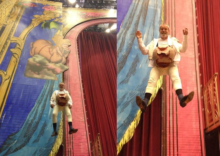 "Gilliam hanging around during rehearsal for the ""I've Got Two Legs"" number."