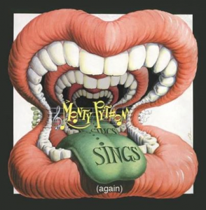 "The re-issued and illustration-updated ""Monty Python Sings [Again]"" bonus CD cover art from Gilliam."