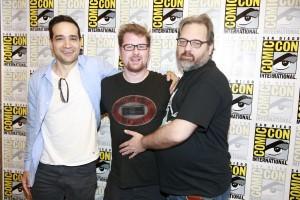 Ryan Ridley (left), Justin Roiland (center), Dan Harmon (right)