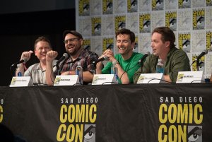 Duck Tales San Diego Comic Con 2017 Matt Youngberg, Francisco Angones, David Tennant, and Beck Bennett