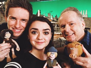 Eddie Redmayne, Maisie Williams, Nick Park Early Man